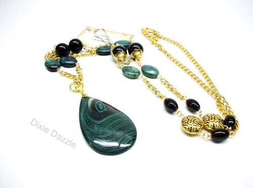 Long green necklace with large malachite stone pendant, black onyx, green and gold necklace, textured gold beads, Made in Tennessee, USA