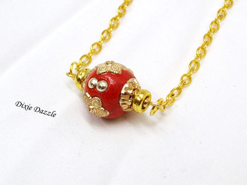 Red and gold necklace, minimalist style jewelry,  Red inlaid bead with premium gold tone chain, red necklace, red focal bead, made in USA