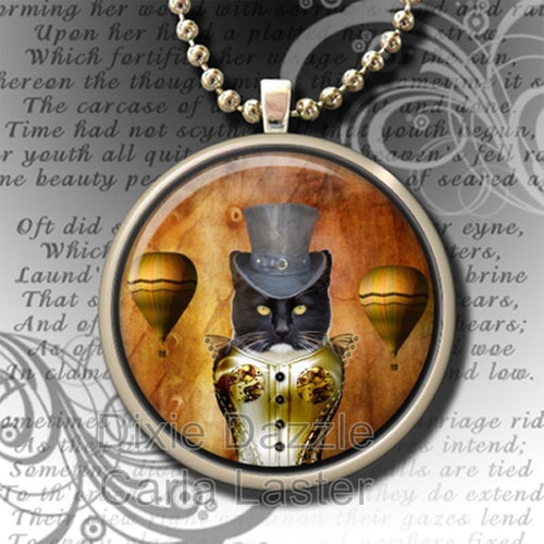 Steampunk cat art pendant necklace, hot air balloon with rolo style chain necklace, altered art image, art pendant, cat jewelry