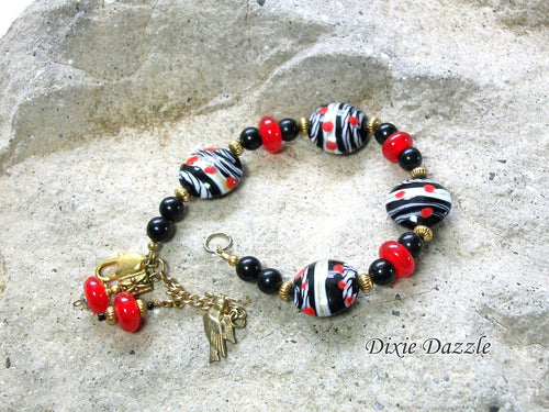 Red and black bracelet with lamp work beads and black onyx, charm dangle, lampwork beads, made in USA, Chattanooga TN