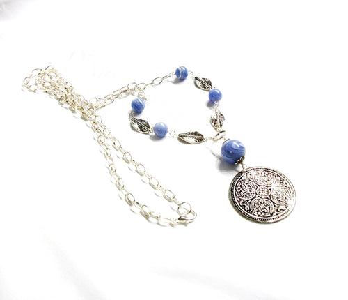 Long casual style necklace, blue lace agate necklace with hammered silver pendant, long boho style necklace, made in TN