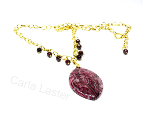 Garnet January birthstone necklace, Purple necklace with garnet and crazy lace agate, long gold necklace, adjustable length, long necklace