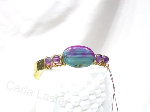 Hammered gold cuff bracelet with amethyst and agate, wire wrapped bracelet, purple and green bracelet, gold cuff, made in Chattanooga, TN