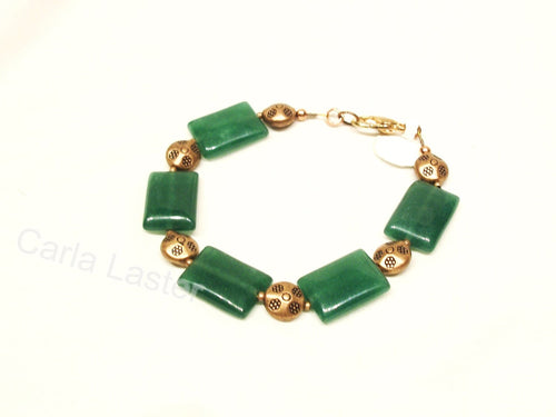 Green and copper bracelet with natural stones