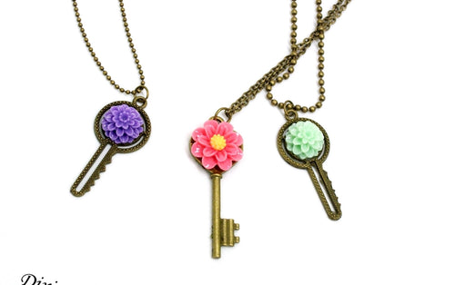 Pastel flower Key necklace, bronze key embellished with resin flower, made in Tennessee, USA
