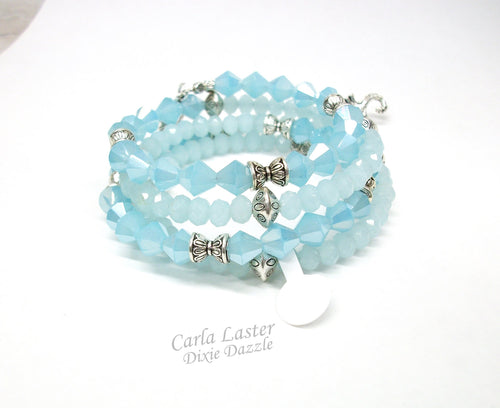 Beach wedding jewelry, Light blue seashell and sea horse charm beaded bracelet, beaded wrap bracelet, resort wear. Made in TN, USA