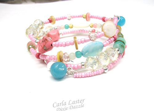 Pink bracelet, beach wedding jewelry, memory wire bracelet, pink wrap bracelet, summer jewelry, jade, shell, howlite, made in USA
