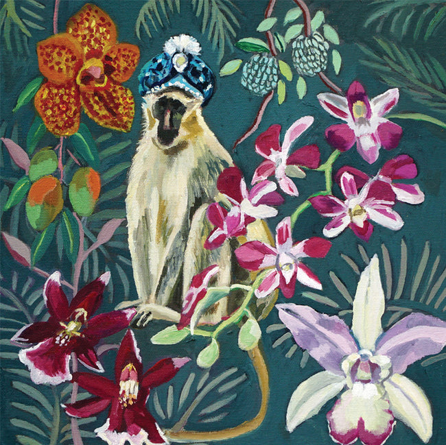 Sultan Monkey with Orchids Greeting Card and Gift by Joanne Reed