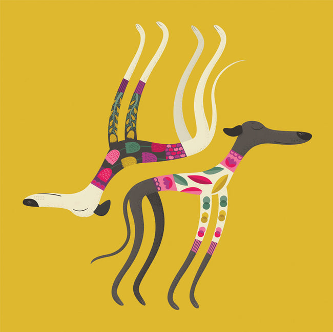 Sleepy Sighthounds Greeting Card and Gift by Helen Foster