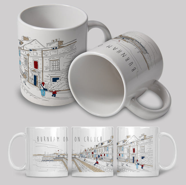 Burnham-on-Crouch Line Art Ceramic Mug