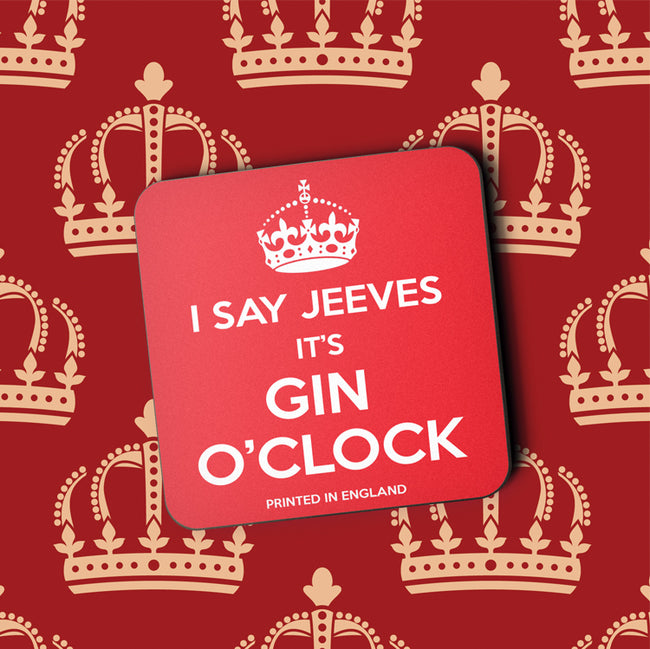I say Jeeves It's Gin O'Clock Greeting Card and Coaster by Jack Finley
