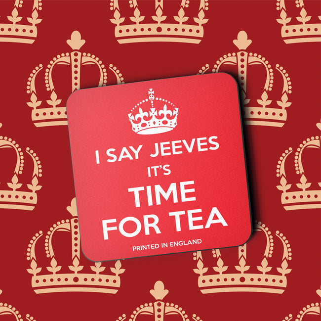 I Say Jeeves It's Time for Tea Greeting Card and Coaster by Jack Finley