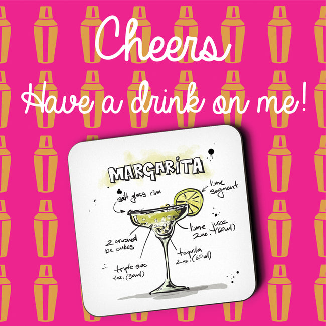 Margarita Cocktail Greeting Card and Coaster by Jack Finley