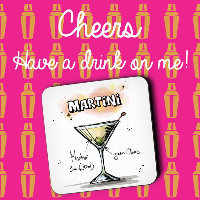 Martini Cocktail Greeting Card and Coaster by Jack Finley