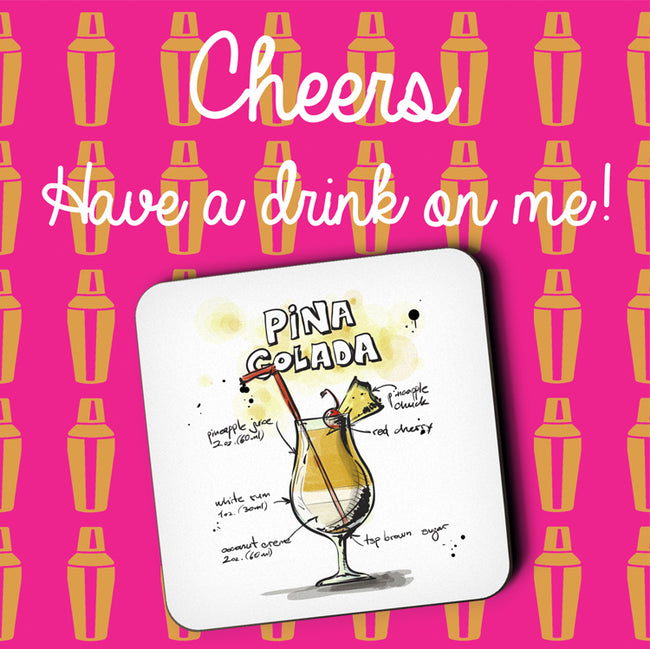Pina Colada Cocktail Greeting Card and Coaster by Jack Finley
