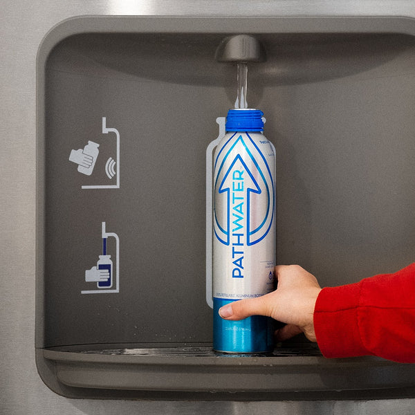 PATHWATER believes access to clean water is a human right & provides Hydration Stations for organizations that ban plastic bottled wate