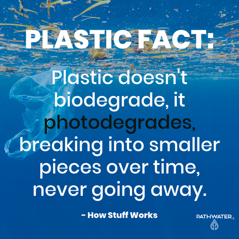Plastic does not biodegrade it photodegrades.