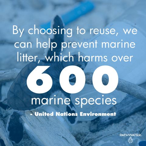 By choosing to reuse, we can help prevent marine litter, which harms over 600 marine species - United Nations | PATHWATER