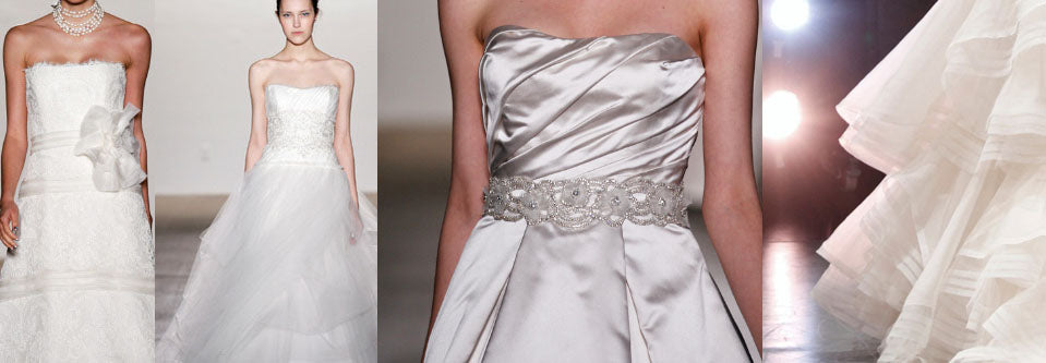 Sampling of dresses available at upcoming Rivini wedding trunk shows