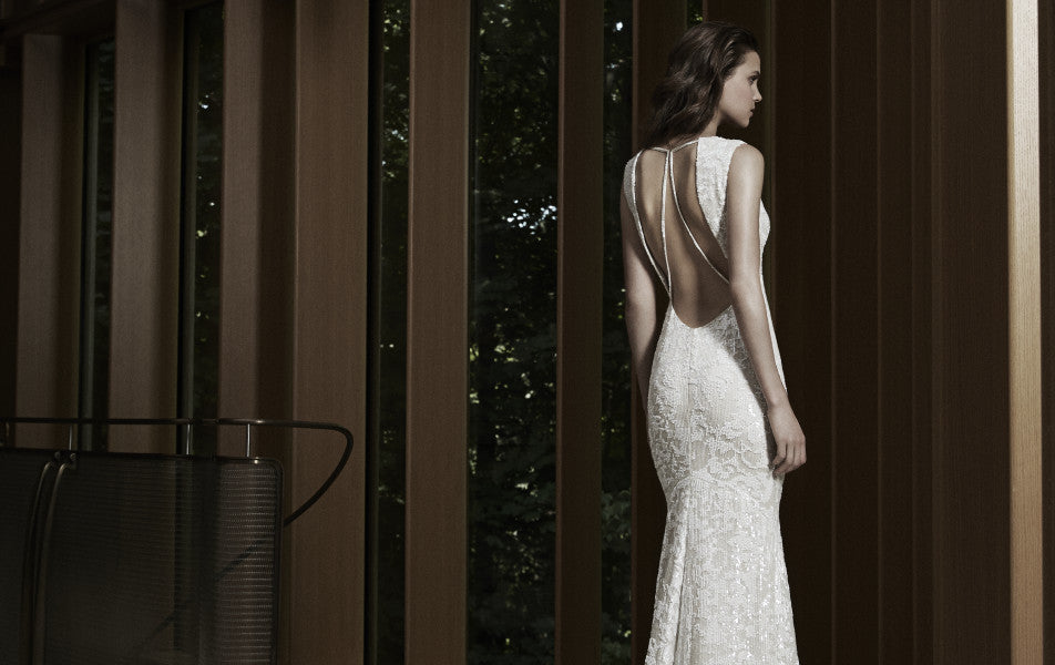 Front shot of one of Rivini's designer bridal gowns