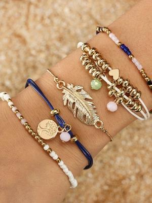 f7f7bd7e8 Ethnic Style Creative Alloy Rice Beads Love Leaves Feathers Multi-Layer  Bracelet Cord Woven Bracelet ...