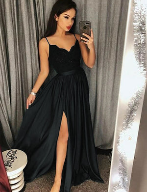 A-Line Spaghetti Straps Dark Green Appliqued Split Long Prom Dress - ericprom