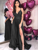 A-Line Spaghetti Straps Backless Dark Blue Long Prom Dress with Pockets Split - ericprom