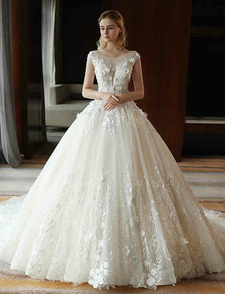 Elegant Crew Cap Sleeves Ball Gown Wedding Dress with Appliques Bridal Dress