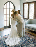 Beauty V-Neck Long Lace Beach Wedding Dress Mermaid Backless Bridal Dress - ericprom
