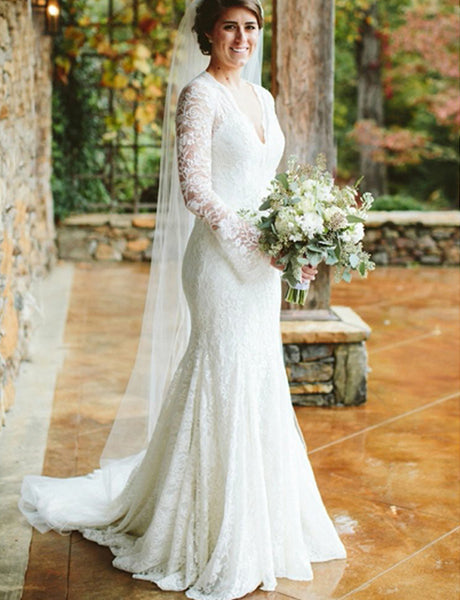 Mermaid Long Sleeves White Lace Wedding Dress V-Neck Vintage Bridal Gown