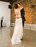Unique V-Neck Sleeveless Sweep Train Backless Wedding Dress with Appliques - ericprom
