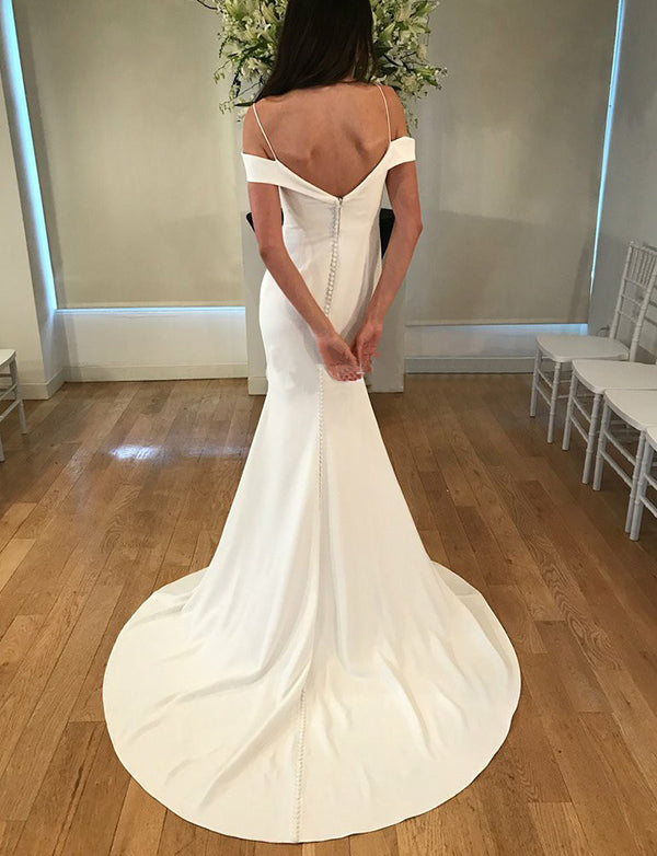 Spaghetti Straps Sweep Train White Mermaid Wedding Dress Simple Bridal Dress - ericprom