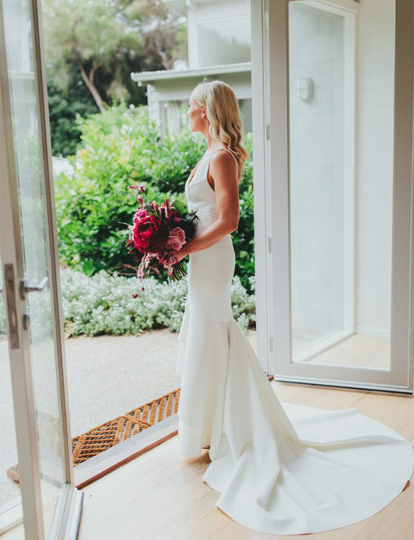 Sleeveless V-Neck Sweep Train Mermaid Wedding Dress Simple Bridal Gown - ericprom
