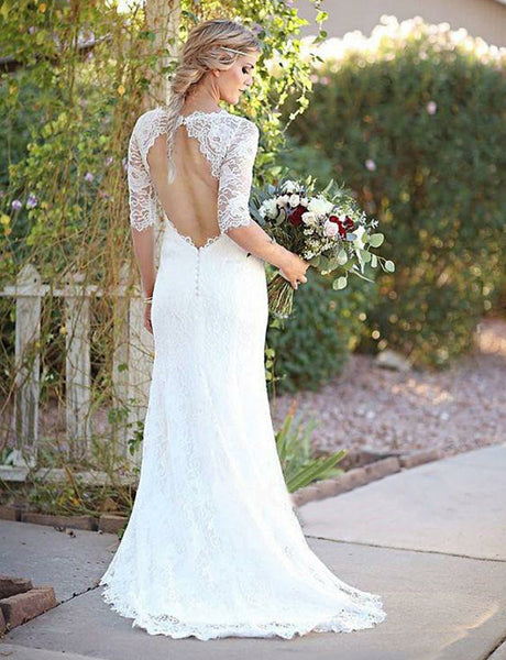 Mermaid Crew Open Back Bridal Gown Half Sleeves Lace Wedding Dress