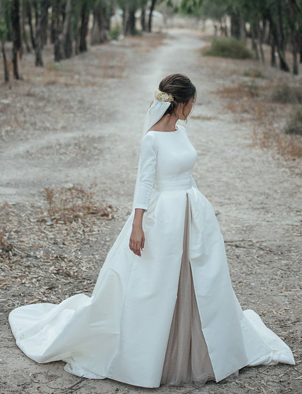 Hot Bateau Satin Court Train Backless Wedding Dress with Sleeves Bridal Gown - ericprom