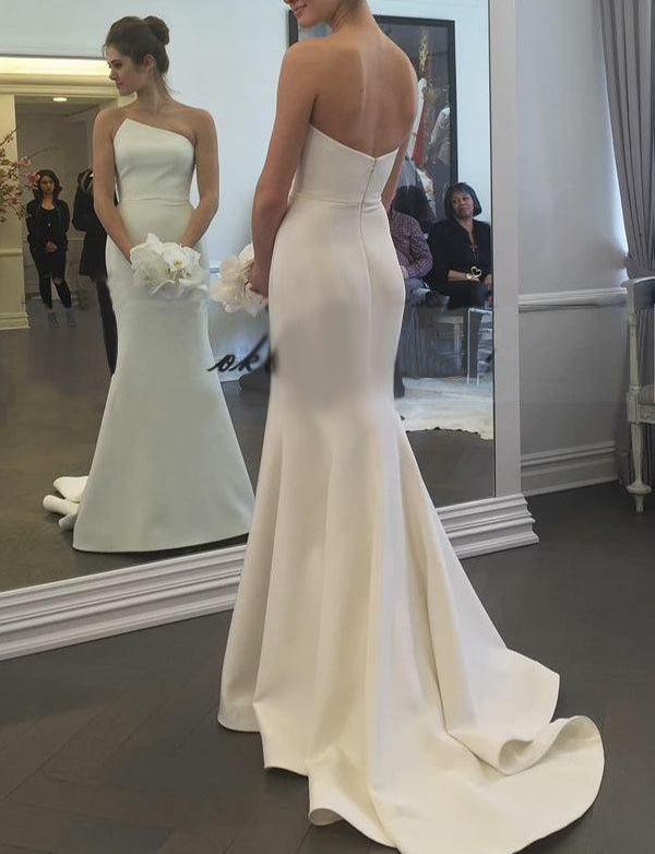 Simple Sleeveless Mermaid Wedding Dress Long Satin White Strapless Bridal Gown - ericprom