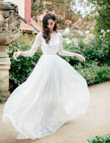 Jewel Long Sleeves Beach Wedding Dress with Beading Open Back Bridal Dress - ericprom