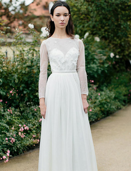 Jewel Long Sleeves Beach Wedding Dress with Beading Open Back Bridal Dress