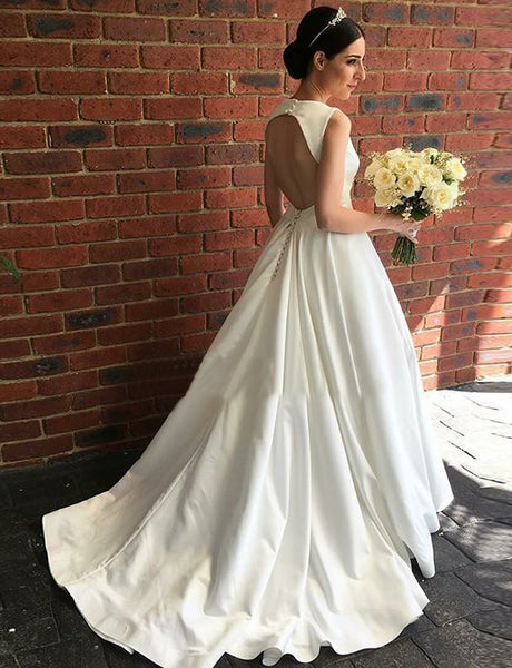 Simple A-Line V-Neck Open Back Wedding Dress Satin Long White Bridal Gown