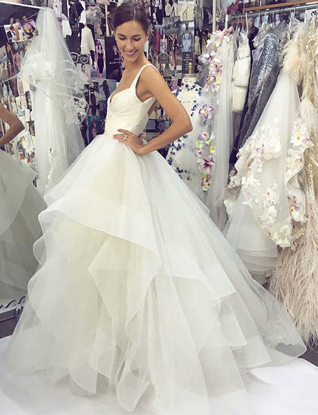 Straps Organza Long Wedding Dress with Tiered