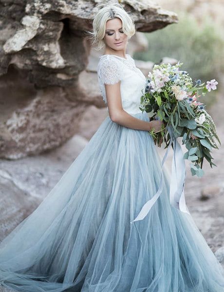 Short Sleeves Light Blue Beach Wedding Dress with Lace