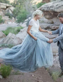 Short Sleeves Light Blue Beach Wedding Dress with Lace - ericprom