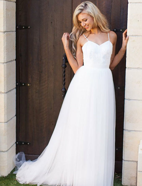 Simple Backless Bridal Dress Sleeveless Spaghetti Straps A Line Beach Wedding Dress