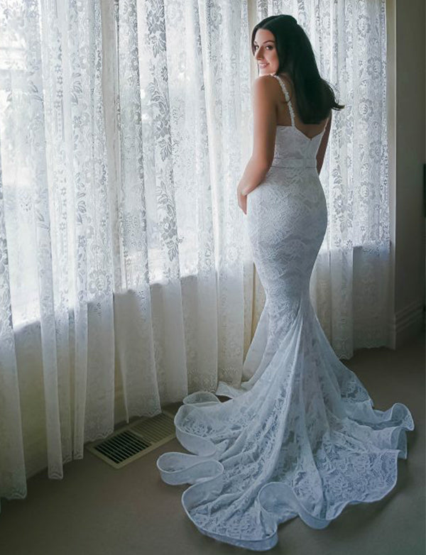 Spaghetti Straps Sweep Train Sleeveless Mermaid Wedding Dress Lace Bridal Gown - ericprom