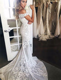 Off the Shoulder Lace Wedding Dress with Sleeves Mermaid Bridal Gown - ericprom