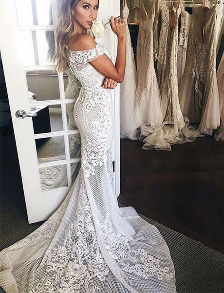 Off the Shoulder Lace Wedding Dress with Sleeves Mermaid Bridal Gown