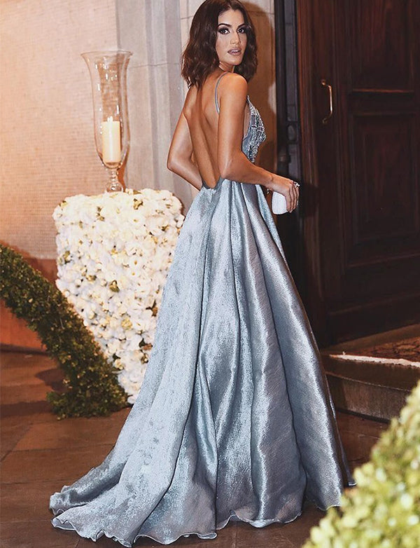 A-Line Spaghetti Straps Backless Light Blue Beaded Appliqued Prom Dress - ericprom