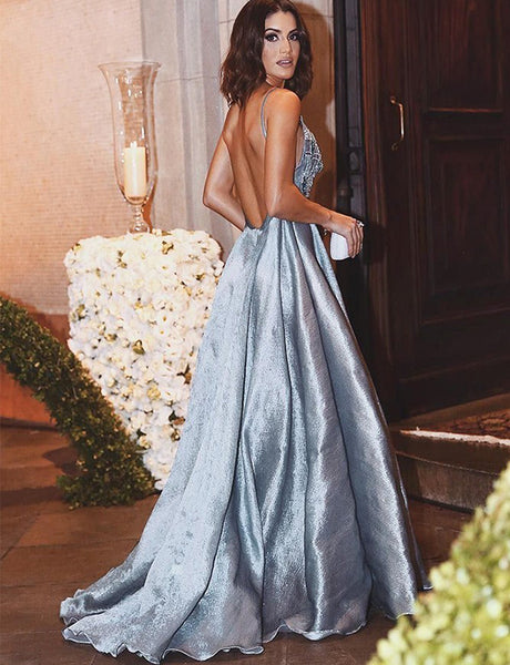 A-Line Spaghetti Straps Backless Light Blue Beaded Appliqued Prom Dress