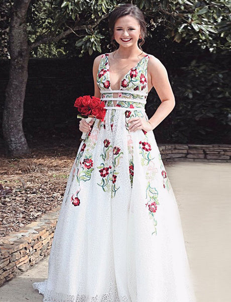 A-Line Deep Vneck Long White Lace Prom Dress With Embroidery