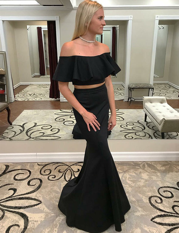 Two Piece Mermaid Off the Shoulder Black Long Prom Dress with Ruffles - ericprom